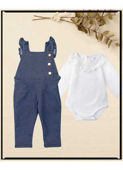 LOOK BABY GIRL NINA: jardinero + body HOTSALE