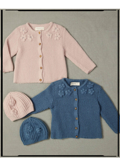 LOOK BABY GIRL LUPE: cardigan + gorro