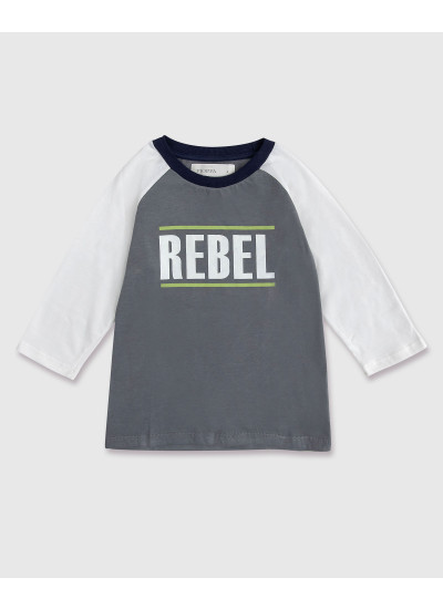 REBEL remera gris y tiza estampada nene