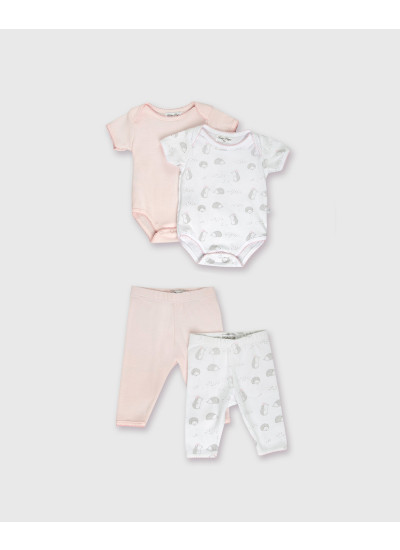 LOOK BABY GIRL NB BASIC: pack x 2 bodies + pack x 2 pantalones